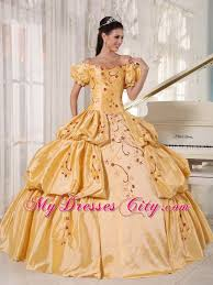 gold quince dresses shoulder ups embroidery gold quinceanera dress with sleeves