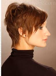 side view of blended wedge haircut the played up pixie wispy style side view for appointments at