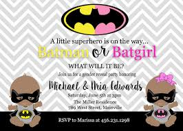 batman batgirl baby shower gender reveal invitation party