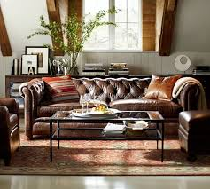Leather Chesterfields Sofas Chesterfield Leather Sofa Pottery Barn