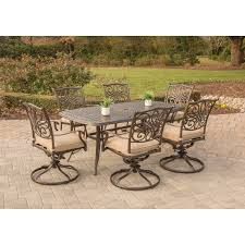 Patio 7 Piece Dining Set - traditions 7 piece dining set with six swivel dining chairs and a