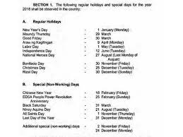 regular holidays and special non working days for 2018 news