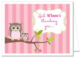 thank you baby shower owl girl baby shower thank you note cards
