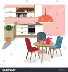 kitchen dining room illustration interior design stock vector kitchen dining room illustration interior design home scene modern house chair table