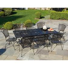Black Patio Chairs Metal Furniture Large Black Iron Outdoor Dining Table With Chair Using