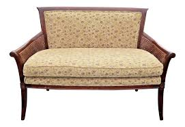 vintage french country ethan allen double cane floral settee