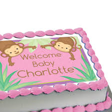 monkey baby shower cake monkey girl baby shower personalized edible image cake decoration