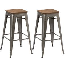 Metal Bar Stools With Wood Seat Btexpert 30 Inch Industrial Stackable Vintage Antique Clear Brush