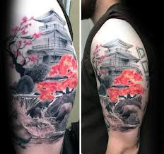 contrasting cherry blossom tree with temple mens japanese