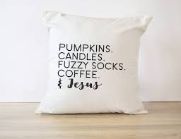 throw pillow cover pumpkins candles fuzzy socks coffee