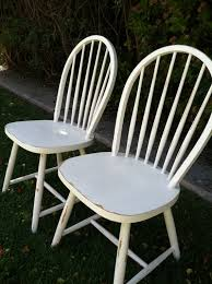 Shabby Chic Patio Furniture by Set Of 2 Vintage Shabby Chic White Chairs Distressed Wood