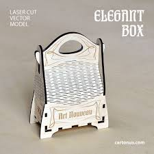 elegant gift box with handle art nouveau style lasercut vector