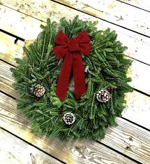 24 in red bow fresh live fraser fir christmas wreath free