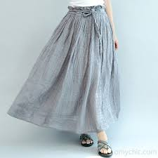 summer skirts gray casual summer linen skirts plus size a line skirts elastic