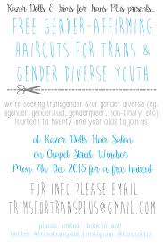 free gender affirming haircuts for 14 21year old transgender