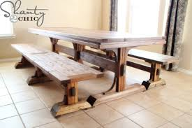 farm tables with benches ana white triple pedestal farmhouse bench diy projects