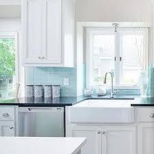 Green Brick Backsplash Tiles Transitional Tiffany Blue Subway Tile Backsplash Transitional Kitchen Deco