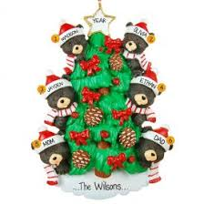 family of 6 black bears on tree ornament personalized ornaments