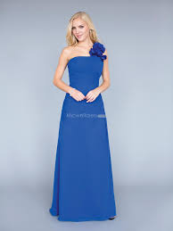 royal blue chiffon bridesmaid dresses us 139 99 one shoulder royal blue chiffon floor length inexpensive