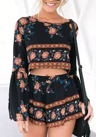 jumpsuit shorts black floral midriff 2 in 1 elastic waist fashion jumpsuit