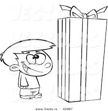 vector happy cartoon boy standing large christmas gift
