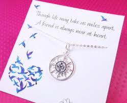 compass necklace friendship necklace compass jewelry graduation