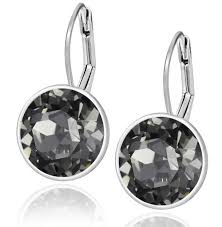 leverback earrings black diamond swarovski lever back earrings