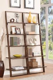 furniture intriguing white leaning bookcase design enticing