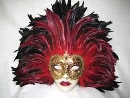 feather mask black tiger feathers venetian masks 1001