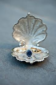 Geode Ring Box Gold Wedding Bands And Sapphire Engagement Ring Silvery Seashell