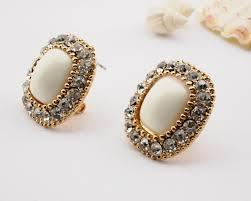big stud earrings chic rhinestone big square statement leverback stud earrings