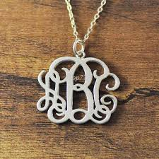 3 initial monogram necklace sterling silver wholesale 925 sterling silver personalized monogram necklace 3