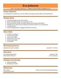 Template For Resume References 3 Free Baby Sitter Resume Samples In Word
