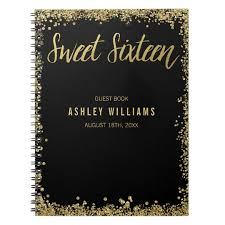sweet 16 guest book sweet 16 black gold faux glitter guest book zazzle