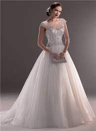 classic wedding dresses gown illusion neckline cap sleeve tulle beaded