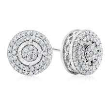 silver stud earrings 1 2 ct t w white diamond sterling silver stud earrings