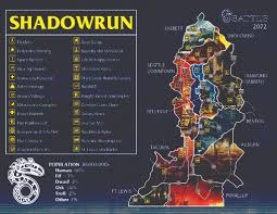 Seattle Districts Map by Mode Shadowrun 5 Tabletop Rpg Useful Links