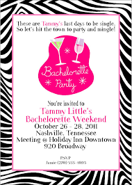 sweet girls zebra print bachelorette party invitation card sample