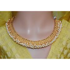 ethnic necklace images Pearly spiral gold plated ethnic necklace set with jhumkas jpg