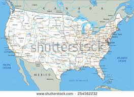 highway map of the united states us road map stock images royalty free images vectors
