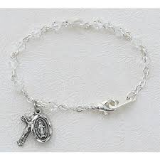 baby rosary bracelet baby rosary bracelet 4mm tin cut sterling medals 98340