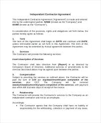 sample independent contractor agreement 9 independent contractor