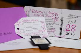 Boarding Pass Wedding Invitations Purple Boarding Pass Wedding Invitations To Puerto Rico Empire