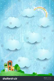 Landscape With Houses by Surreal Landscape Houses Hanging Clouds Vector Stock Vector