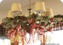 Christmas Window Garland Decorations by Chandelier Holiday Decorating Ideas Thesecretconsul Com