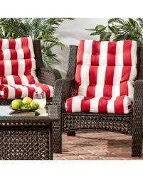 High Back Patio Chair Cushion Bargains On Outdoor High Back Cabana Stripe Chair Cushion Set Of