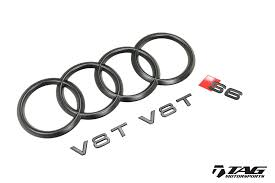 audi logo black and white tag blackout cosmetic package for audi s6