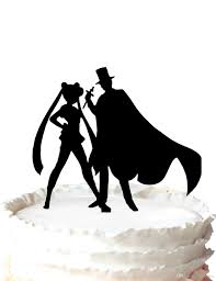 moon cake topper wedding cake topper silhouette sailor moon tuxedo mask and