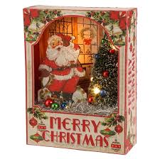 shadow box santa in vintage ornament box shelley b