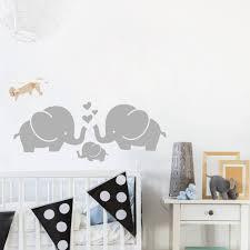 stickers elephant chambre bébé éléphant mignon coeurs famille stickers muraux pour chambre de